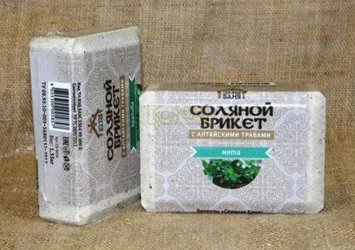 Соляной брикет 1,35кг Соляная баня Мята