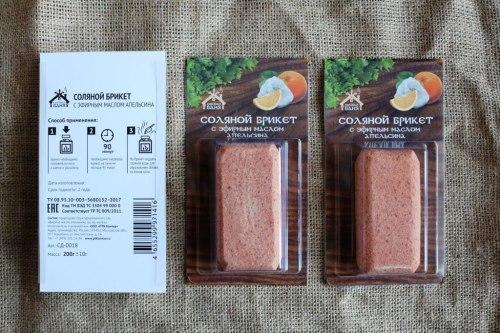 Соляной брикет с эфирным маслом апельсина 0.2кг Соляная баня