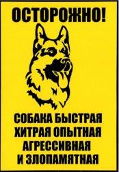 "Табличка А5 пластик ""Осторожно злая собака"" №3"