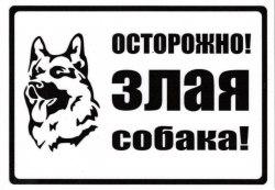 "Табличка А5 пластик ""Осторожно злая собака"" №4"