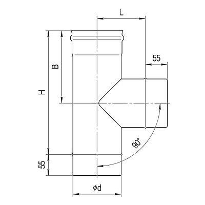 Тройник 90гр. отвод по дыму (мама) FERRUM AISI 430/0,5