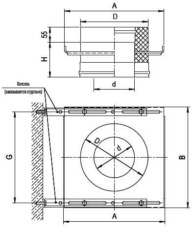 Площадка монтажная (опора сквозная) FERRUM AISI 430/0,8+AISI 430/0,5