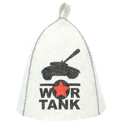 """Шапка банная """"WAR TANK"""" войлок белый Главбаня"""