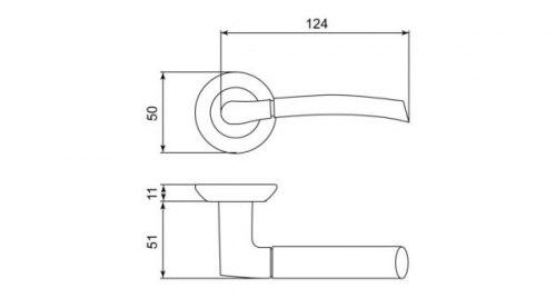 Дверная ручка Leicht GT-69 AB старая бронза