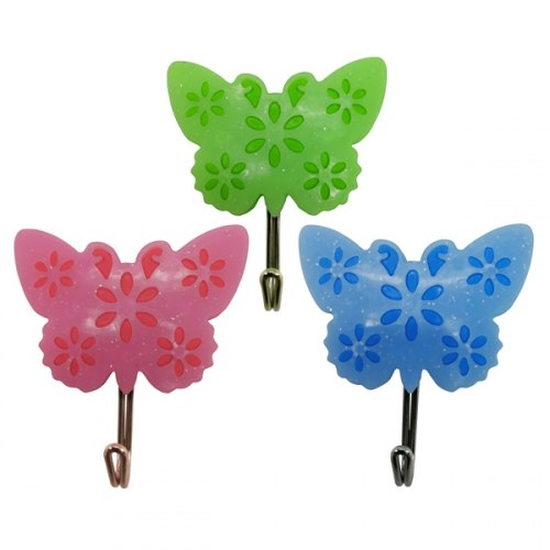 Крючок пластма. Бабочки 3шт JEM9054 25999
