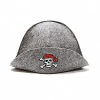 """Шапка банная с вышивкой """"Пират"""", войлок серый Главбаня Б40122"""