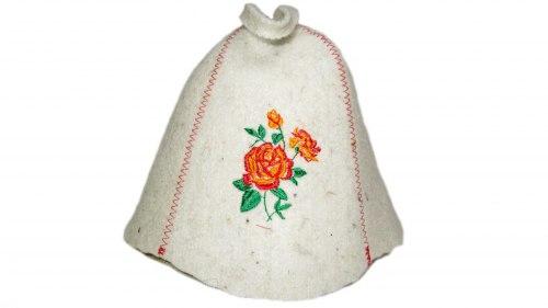 Шапка для бани и сауны «Роза» с вышивкой OBSI 131039