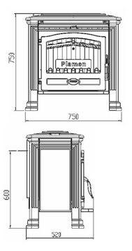 Печь-камин с водяным контуром Plamen Tena Termo