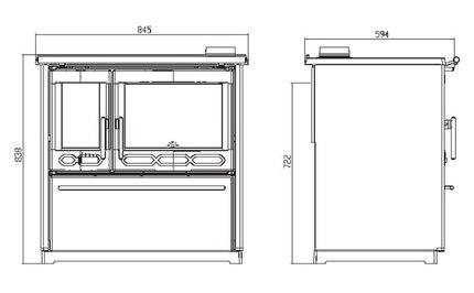 Печь для кухни с водяным контуром Plamen 850 Termo Glass