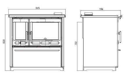 Печь для кухни с водяным контуром Plamen 850 Glas