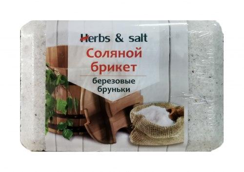 Соляной брикет 1,35кг Salt&Herbs Береза
