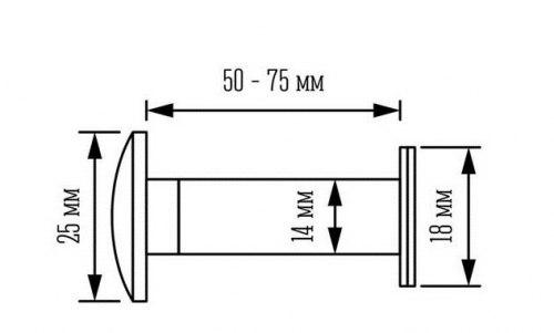 Глазок дверной тип 1 L35-60мм d 14мм со шторкой