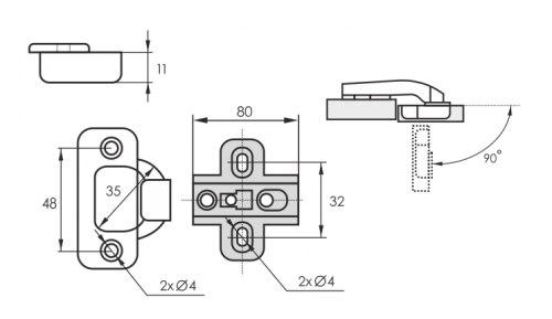 Петля мебельная 90гр для фальш-панели SOLLER 1108