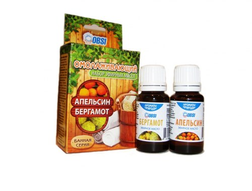 Набор эфирных масел «БАННАЯ СЕРИЯ» (апельсин ,бергамот) Омолаживающий OBSI БС-12