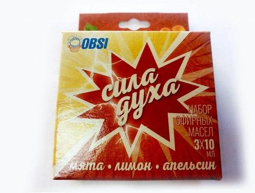 """Набор эфирных масел """"СИЛА ДУХА"""" (мята, лимон, апельсин) 3 шт. по 10 мл. OBSI 130889"""