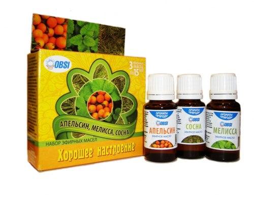 Набор эфирных масел «Хорошее настроение» (апельсин ,мелисса ,сосна) OBSI БС-23