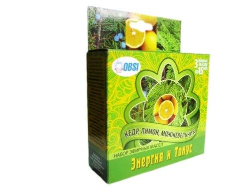 Набор эфирных масел «ЭНЕРГИЯ и ТОНУС» (кедр ,лимон ,можжевельник) OBSI БС-50