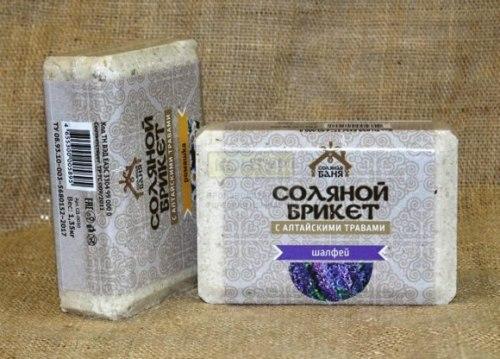 Соляной брикет 1,35кг Соляная баня Шалфей