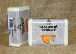 Соляной брикет 1,35кг Соляная баня с цедрой Апельсина