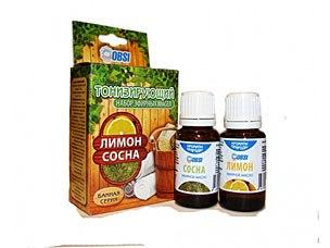 Набор эфирных масел «БАННАЯ СЕРИЯ» (лимон, сосна) 2-15мл Тонизирующий OBSI БС-14