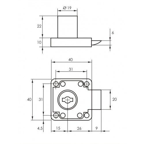 Замок мебельный SOLLER 338-22Ц-XF хром