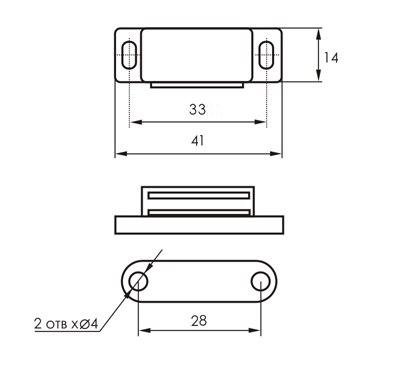 Магнит мебельный SOLLER L 45мм, h 12,5мм коричневый