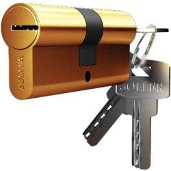 Механизм цилиндровый SOLLER F5 (5 ключей) латунь/металл, профильный ключ Cu.С