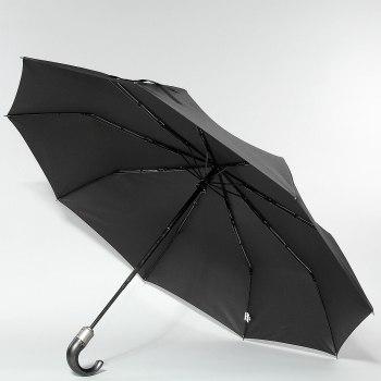 """Зонт муж. Крюк кож.ручка Zest 13990 """"Черный"""" (3 сложения)"""