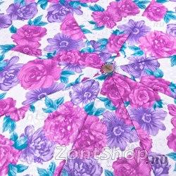 Зонт женский жаккардовый Три слона 127 (Розовые цветы)
