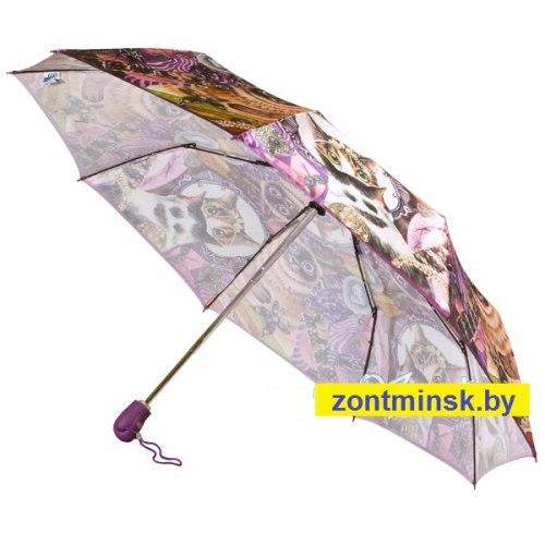 Зонт женский (Сатин) Zest 23944 Коты с изумрудами