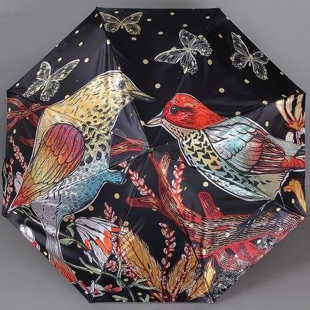 Зонт женский автомат Trust 30471 Птицы на чёрном
